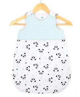 Gigoteuse mint Un, deux, trois, Panda ! (chevrons blancs et vert mint, pandas et triangles blancs et noirs)