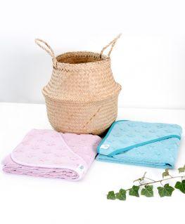 Cape de bain étoilée lilas ou turquoise en éponge 100% coton