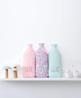 Coussins Milky et Milkette (bouteille de lait) LOVE, CUTE