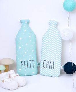 Coussins Milky et Milkette (bouteille de lait) PETIT CHAT