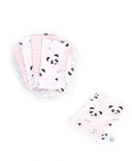 Lot de 5 lingettes lavables roses Un, deux, trois, PANDA ! (Petits noeuds & triangles et chevrons)