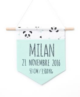Bannière de naissance mint Un, deux, trois, PANDA (vert mint) personnalisable, prénom, date de naissance, taille et poids