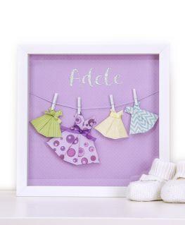 Cadre origami les petites robes d'Adèle rose personnalisable
