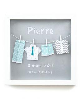 Cadre origami les tenues de Pierre gris personnalisable (mensurations naissance)