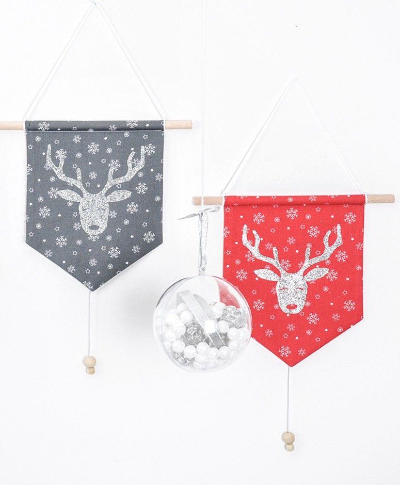 Bannières Rudolph (gris anthracite et rouge)
