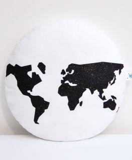 Coussin World (blanc et mappemonde noire)