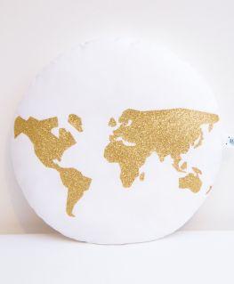 Coussin World (blanc et mappemonde dorée)