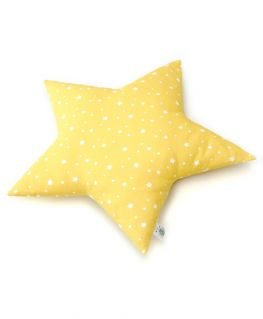 Coussin étoile jaune (coton jaune à étoiles blanches) personnalisable