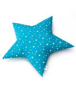 Coussin étoile bleu canard (coton bleu canard à étoiles blanches) personnalisable