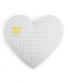 Grand coussin coeur Oriane (blanc avec petits coeurs noirs, agrémenté d'un coeur doré pailleté)