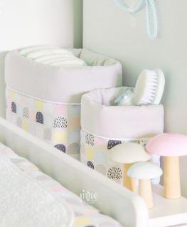 Lot de 2 panières Sweet Candy (rangement couches, accessoires de toilette bébé, jouets, etc.) pour table à langer