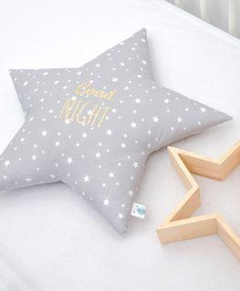Coussin en forme d'étoile gris personnalisé GOOD NIGHT en doré pailleté