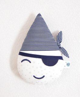 Doudou Mini Goutte Pirate (blanc à étoiles argentées légèrement métallisées et rayures bleu et blanc type marinière)