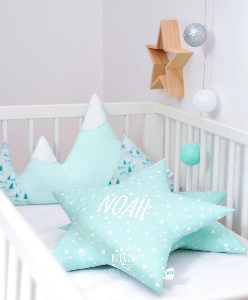 Coussin étoile vert mint personnalisable   Kideco créations