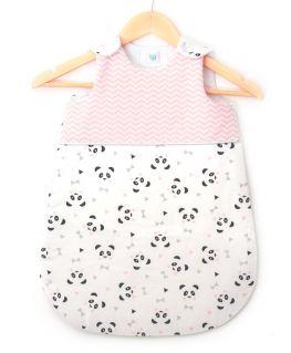 Gigoteuse rose Un, deux, trois, Panda ! (chevrons blancs et vert mint, pandas et triangles blancs et noirs)