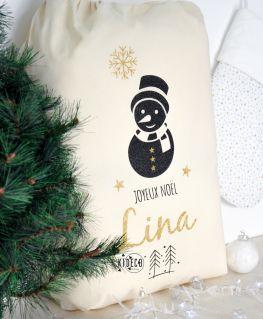 Hotte de Noël Bonhomme de neige personnalisable XL (naturel ou noir au choix)