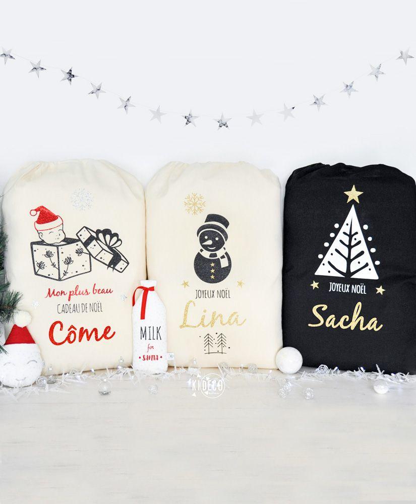Hottes de Noël personnalisables XL (naturel ou noir au choix)