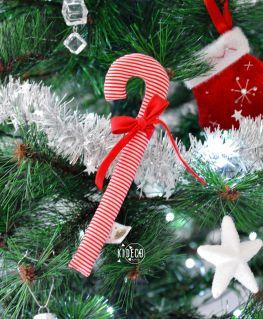 Sucre d'orge en tissu rayé rouge et blanc et petit noeud rouge