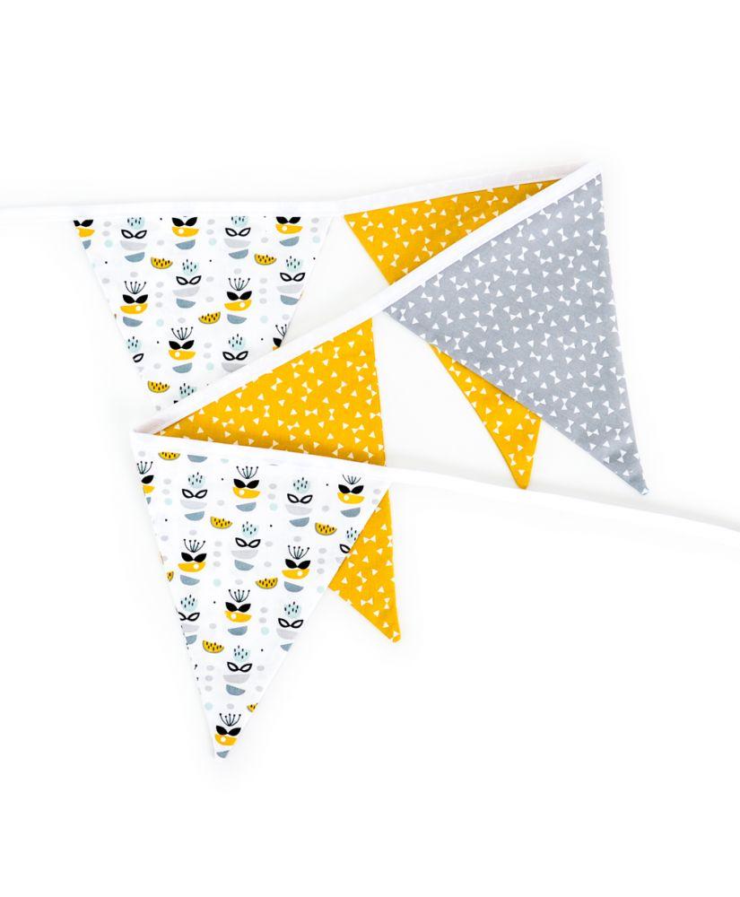 Guirlande de fanions My Sweet Oslo moutarde personnalisable (fleurs, jaune moutarde, gris)
