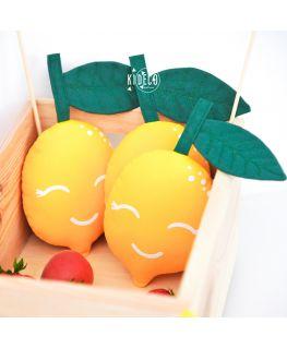 Coussin Doudou Jaune Lemon en forme de citron avec visage