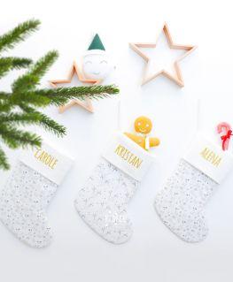 Chaussettes de Noël personnalisables TAÏGA grise et TAÏGA rennes