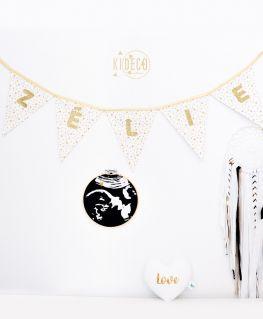 Tambour cadre décoratif de grossesse échographie, guirlande rêve étoilé personnalisable et coeur LOVE