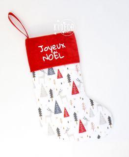 """Chaussette de Noël """"SAPINIERE"""" personnalisable (rebord velours rouge ou blanc au choix)"""