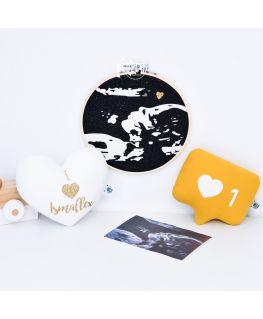 Tambour cadre décoratif de grossesse (échographie) - coeur doré pailleté