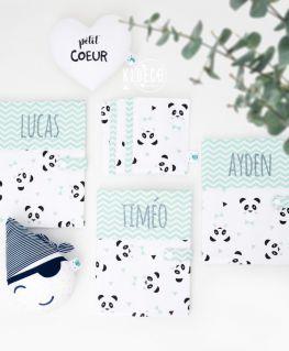 Protèges carnet de santé Un, deux, trois, PANDA! mint personnalisés LUCAS, TIMEO & AYDEN