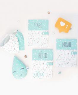 Protèges carnet de santé Taïga mint (sapins, flocons, étoiles, noirs et vert mint pastel) personnalisés TIAGO, HELIO & NOAH