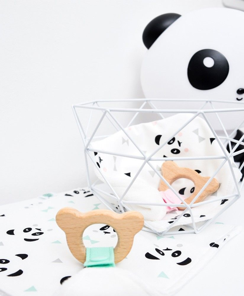 Doudou de Maria Un, deux, trois, PANDA! rose ou vert mint pastel, anneau de dentition panda en bois de hêtre naturel non traité