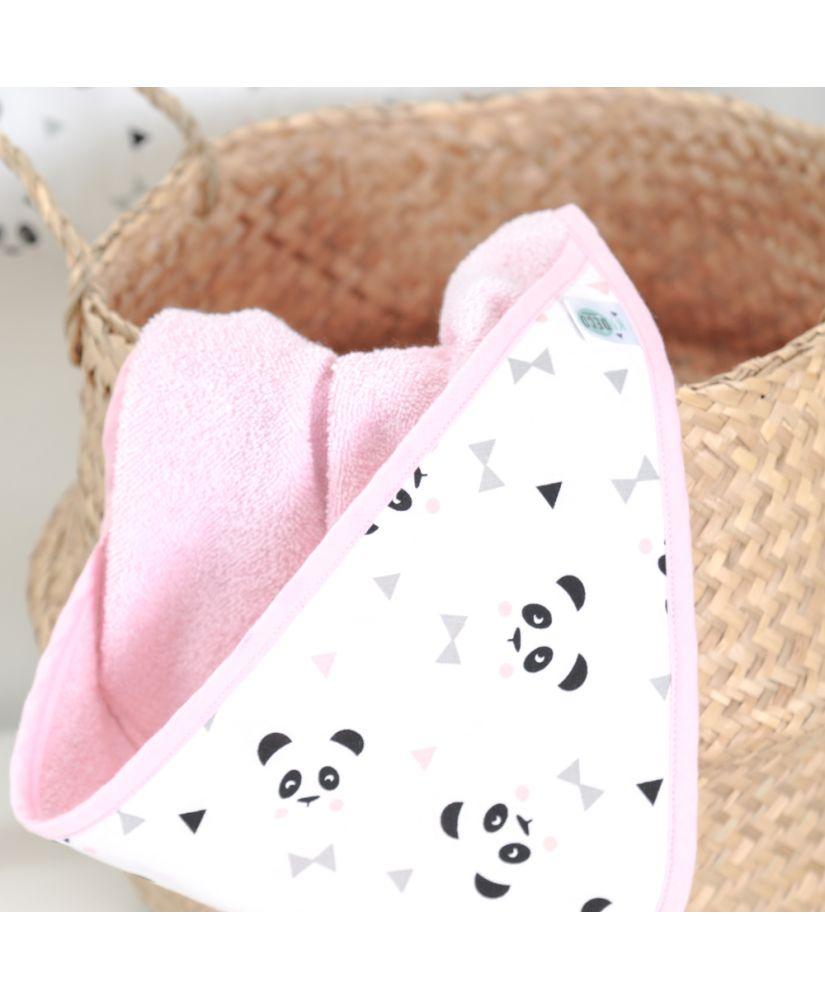 Cape de bain Un, deux, trois, PANDA! rose (pandas noirs et gris, noeuds pastels et triangles noirs)