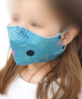 Masque en tissu CALYPSO bleu - taille enfant