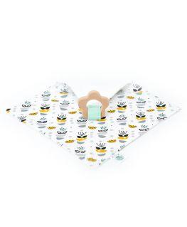Doudou de Maria My Sweet Oslo moutarde, anneau de dentition fleur en bois de hêtre naturel non traité