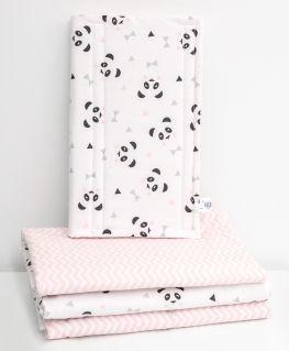 Lot de 4 housses pour barreaux Un, deux, trois, Panda! rose