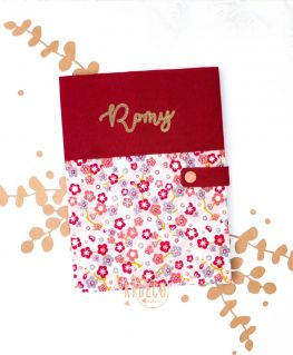 Protège carnet de santé Sakura fleurs de cerisier personnalisé Romy