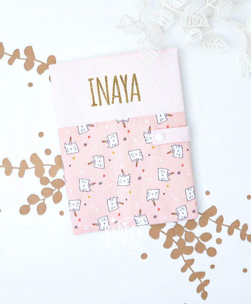 Protège carnet de santé Chat Licorne personnalisé Inaya