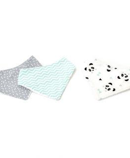 Lot de 3 bavoirs bandanas Mint Un Deux Trois Panda