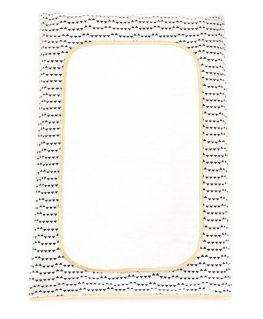 Housse de matelas à langer Imagine (blanc avec des petits triangles noirs, touche de doré)