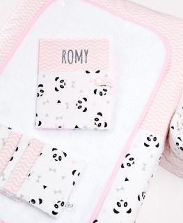Ensemble collection rose Un, Deux, Trois, Panda ! Petits noeuds & triangles et chevrons