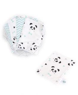 Lot de 5 lingettes lavables mint Un, deux, trois, PANDA ! (Petits noeuds & triangles et chevrons)