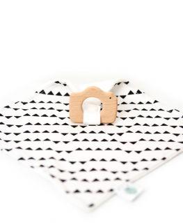 Doudou de Maria Imagine, anneau de dentition appareil photo en bois de hêtre naturel non traité