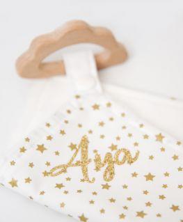 Doudou de Maria Lady Licorne blanc à étoiles dorées, personnalisé Aya (or pailleté) avec anneau de dentition étoile