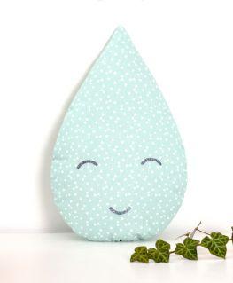 Coussin Liam (vert mint pastel à triangles et petits noeuds blancs)