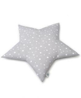 Coussin étoile gris (coton gris à étoiles blanches) personnalisable