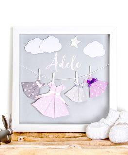 Cadre origami les petites robes d'Adèle gris personnalisable