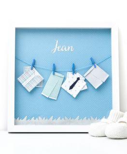 Cadre origami les tenues de Jean bleu personnalisable