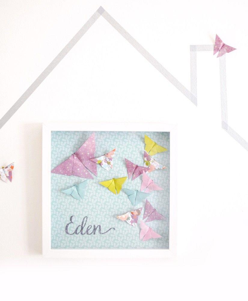 Cadre origami les papillons d'Eden personnalisable