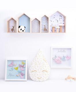 """Cadres origami """"Les papillons d'Eden"""" et """"Les petites robes d'Adèle"""" / Coussin Mam'zelle gouttelette Louna"""