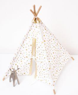 Petit tipi décoratif blanc à étoiles dorées métallisées (tissu au choix)